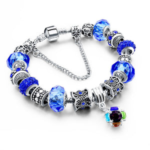 925 Sterling Silver Charm Bracelet w/ Murano Beads