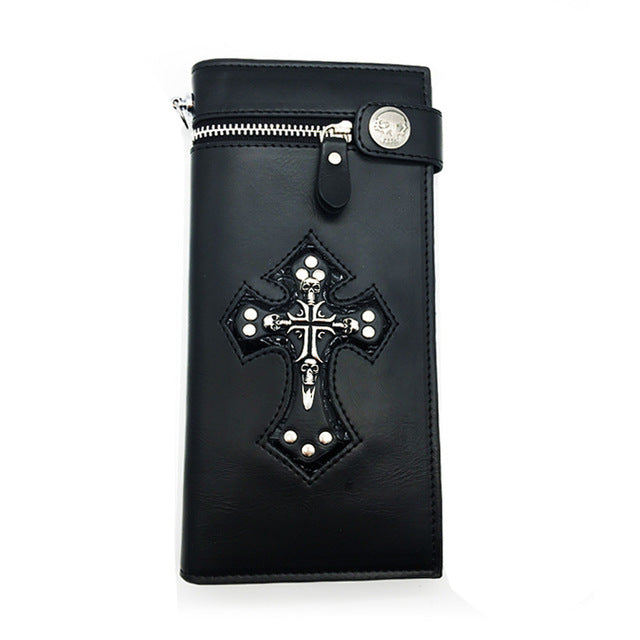 "Leather ""Skull Cross"" Bifold Wallet w/ Chain - Blown  Biker - 6"