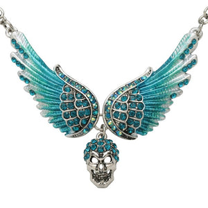 "Antique Silver Plated ""Winged Skull"" Pendant Necklace - Blown Biker - 9"