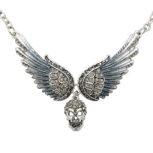 "Antique Silver Plated ""Winged Head"" Pendant Necklace"