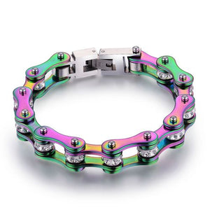 "316L Stainless Steel Rainbow ""Crystal Biker"" Bracelet - Blown Biker - 8"
