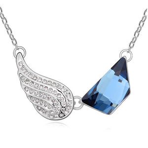 "Angel Wings ""Austrian Crystal"" Necklace - Blown Biker - 6"