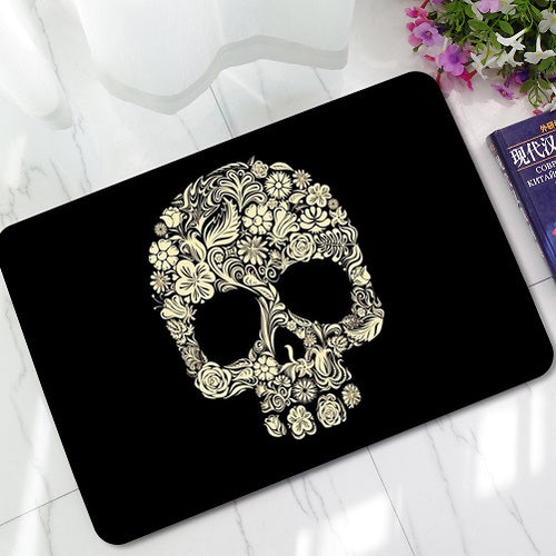 Skull Print Door/Shower Mat - Blown Biker - 1