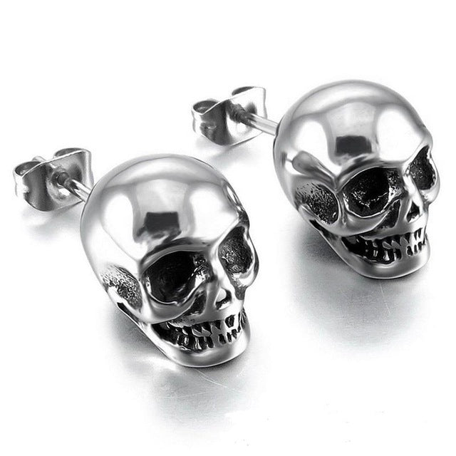 "316 Stainless Steel ""Silver Skull"" Earrings - Blown Biker - 1"