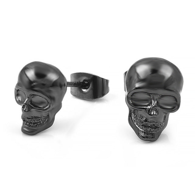 "316 Stainless Steel ""Silver Skull"" Earrings - Blown Biker - 6"