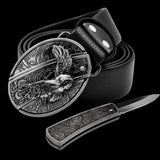 Leather Self Defence Belt with Hidden Knife - Blown Biker - 2