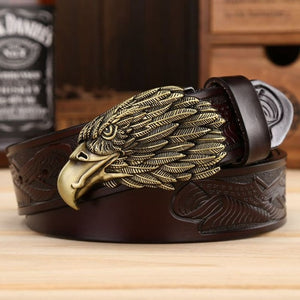 """American Eagle"" Metal Belt Buckle with Belt - Blown Biker - 01"