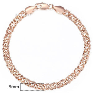 "585 Rose Gold ""Venetian Curb"" Bracelet - Blown Biker - 1"