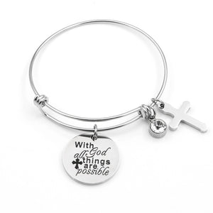 "Adjustable ""With God All Things Are Possible"" Charm Bracelet - Blown Biker - 5"