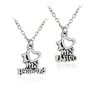 I Love My Husband/Wife Pendant Necklace/Keychain Set - Blown Biker - 1