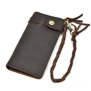 "Vintage Leather Mens ""Long"" Wallet w/ Braided Rope Chain - Blown Biker - 10"