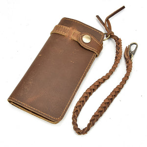 "Vintage Leather Mens ""Long"" Wallet w/ Braided Rope Chain - Blown Biker - 9"
