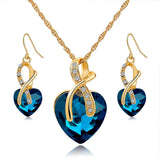 "Gold Plated ""Crystal Hearts"" Jewelry Set - Blown Biker - 1"