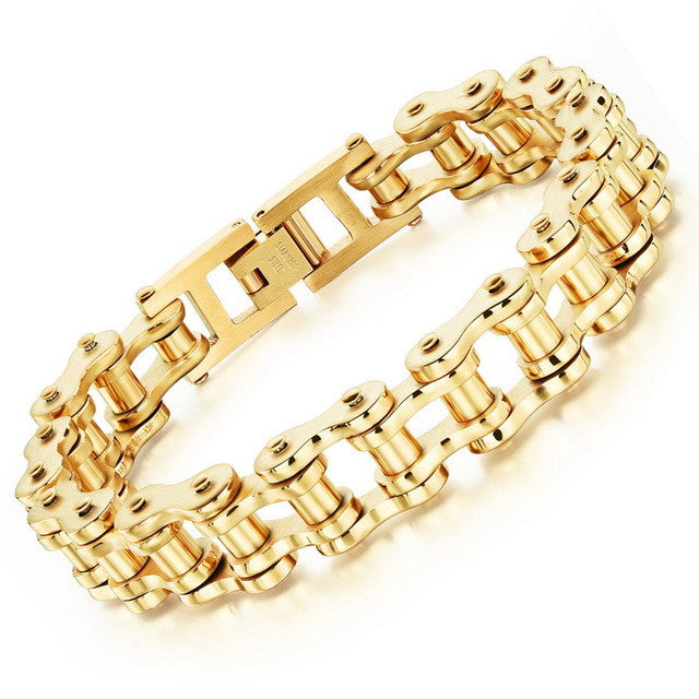 "316L Stainless Steel ""Pure Gold"" Bracelet - Blown Biker - 4"