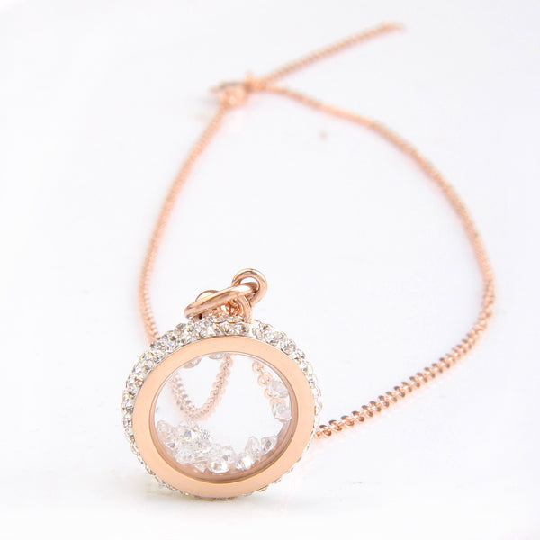 "Rose Gold ""Crystal Round"" Pendant Necklace - Blown Biker - 7"