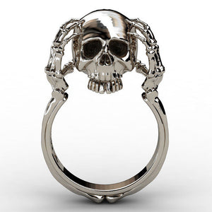 """Skull Hands"" Womens Ring - Blown Biker - 5"