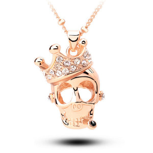 "Rose Gold ""Crowned Skull"" Necklace - Blown Biker - 2"