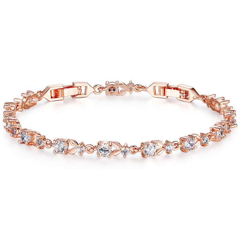 Luxury Rose Gold Plated Bracelet w/ Cubic Zircon Crystals - Blown Biker - 1