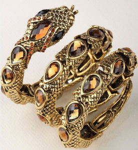 "Antique Gold / Silver ""Stretch Snake"" Bracelet / Upper Arm Cuff - Blown Biker - 13"