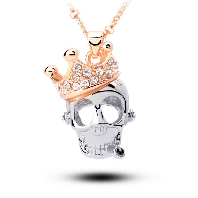 "Rose Gold ""Crowned Skull"" Necklace - Blown Biker - 1"