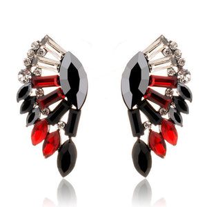 "Angel Wings ""Crystals"" Earrings - Blown Biker - 1"