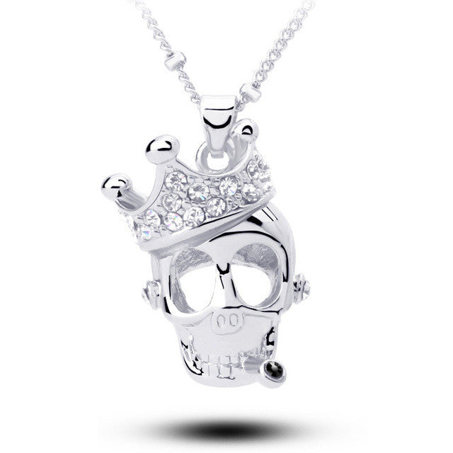 "Rose Gold ""Crowned Skull"" Necklace - Blown Biker - 3"