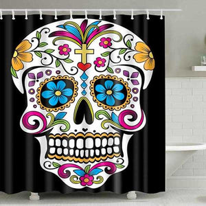 "Printed ""Skulls"" Full Length Shower Curtain - Blown Biker - 3"