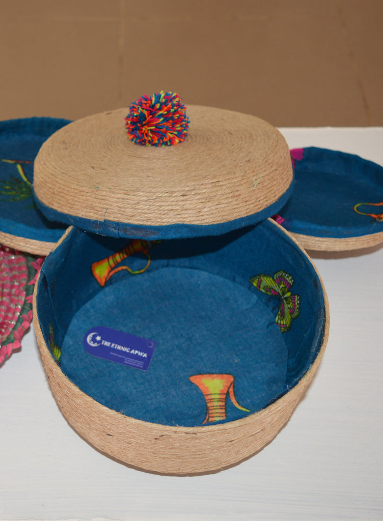 Hand Crafted Set of Blue Baskets