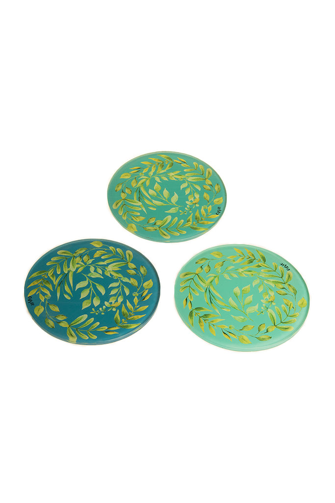 Teal Laurel Trivets