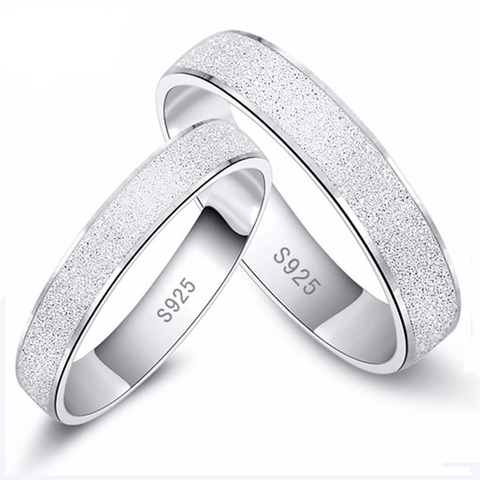 Platinum Plated Wedding Frosted Couple Ring for Men and Women