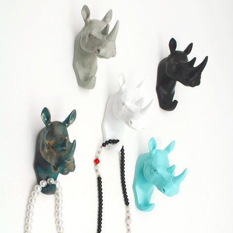 Retro Vintage Wall Mounted Animal Rhino Head Hook 4 Hat Coat Bag Keys Jewelry