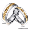 Simple Titanium Steel 18K Gold Plated Couple Rings