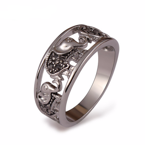 8K White Gold Plated Black Rhinestones Elephant Ring