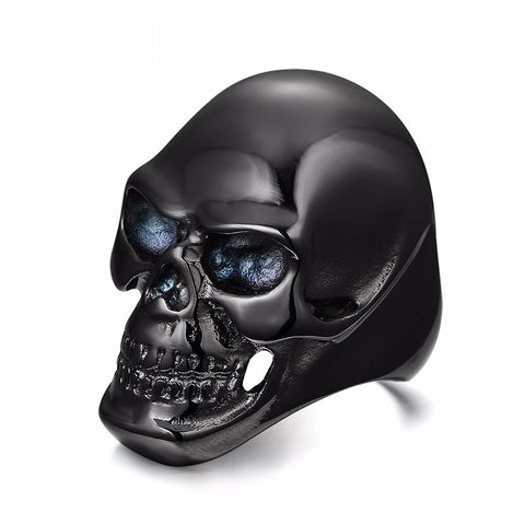 New Gothic Men's Biker Stainless Steel Ring Fashion Black Skull Look Cool Man Ri