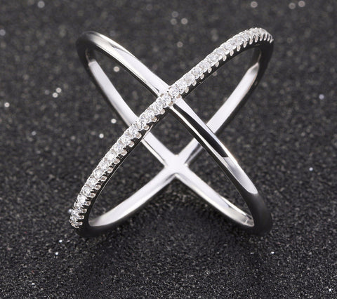 Cross Shape Engagement Zircon Ring White Gold Plated