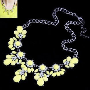 Statement Choker Flower Necklace Crystal Collar Pendant Fashion Jewelry - Todaysdeal - 7