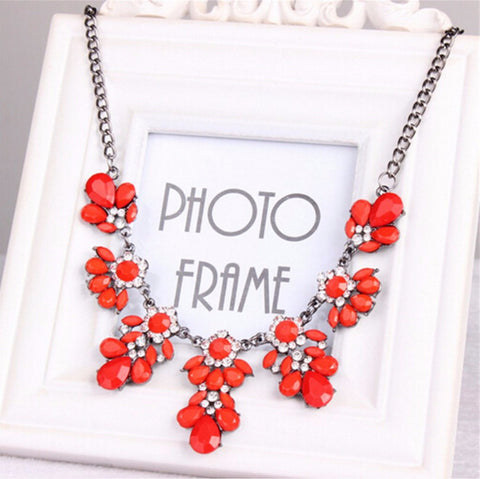 Statement Choker Flower Necklace Crystal Collar Pendant Fashion Jewelry