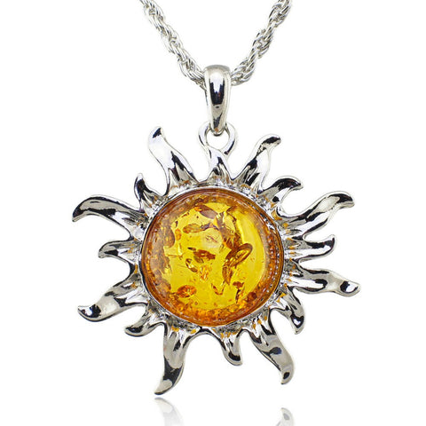 Baltic Faux Amber Honey Sun Lucky Flossy Tibet Silver Pendant Necklace