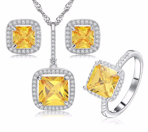 Platinum Plated Zirconwith Necklaces, Earrings & Ring Jewelry Set
