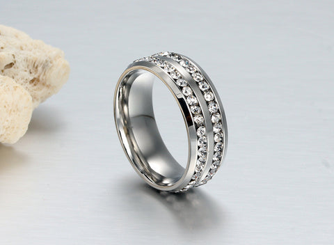 Luxury Titanium Crystal Steel Ring for Men