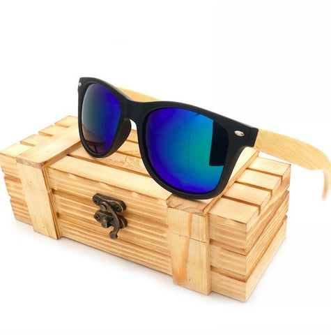 BOBO BIRD High Quality Vintage Black Square Sunglasses With Bamboo Legs Mirrored Polarized
