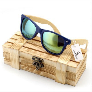 Men's Bamboo Wood Sunglasses in Vintage Style with Plastic Frame and Polarized