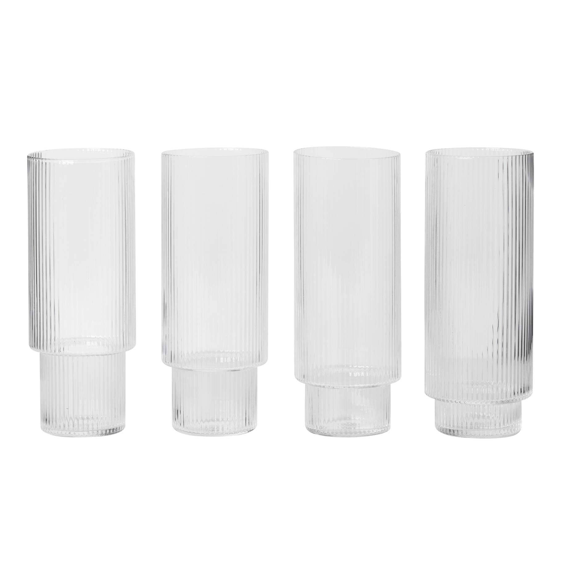 Ferm Living Ripple Long Drink Glasses - Set of 4