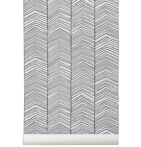 Ferm Living Kelim Rug - Black Lines - Small
