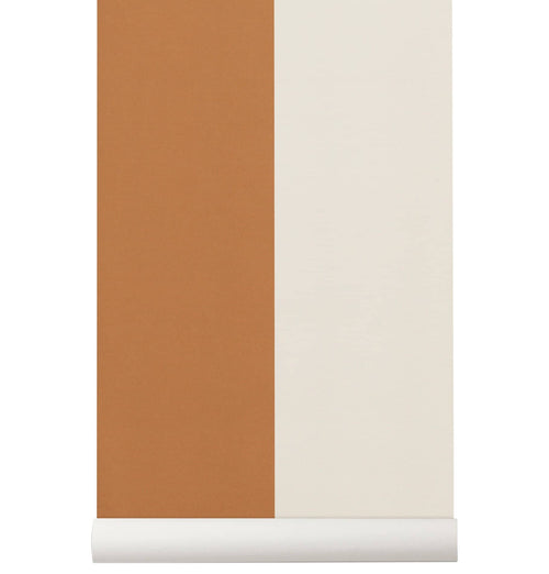 Ferm Living Thick Lines Wallpaper - Mustard/Off White