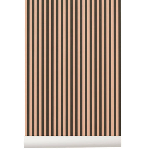 Ferm Living Thin Lines Wallpaper - Green/Rose