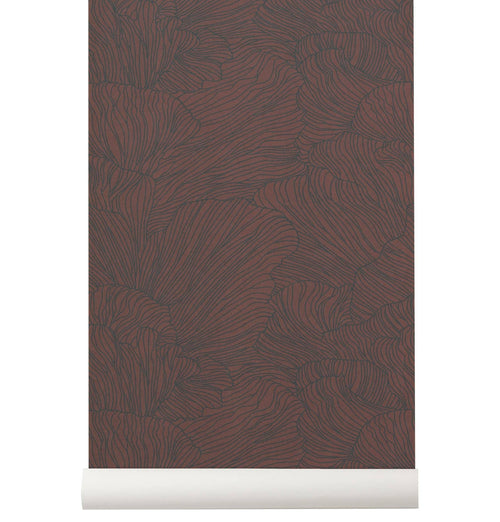 Ferm Living Coral Wallpaper - Bordeaux/Dark Blue - HUH. Store