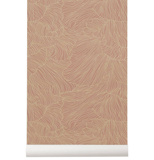 Ferm Living Coral Wallpaper - Dusty Rose/Beige - HUH. Store