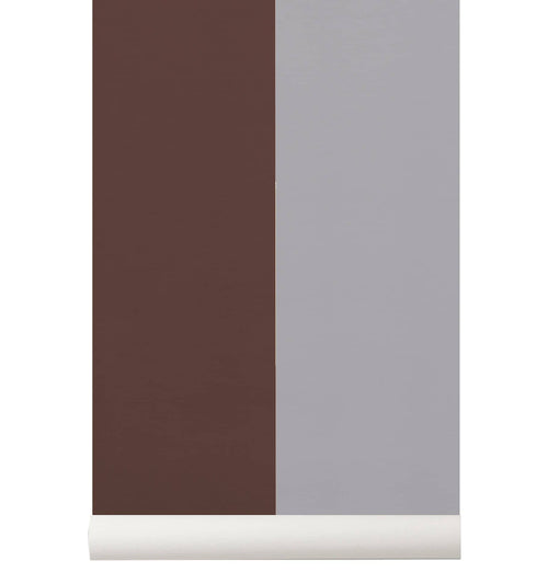 Ferm Living Thick Lines Wallpaper - Bordeaux/Grey