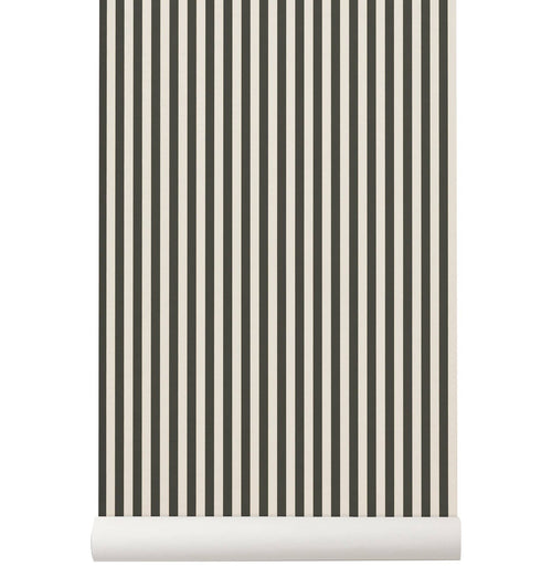 Ferm Living Thin Lines Wallpaper - Green/Off White